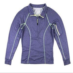 MPG Sport Marled Purple Fleece Half Zip Pullover